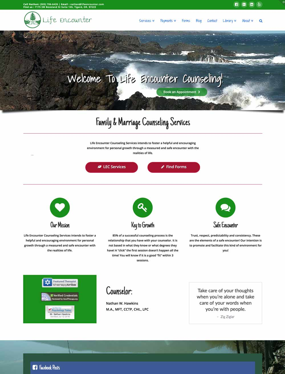 Life Encounter Counseling new website July 2016